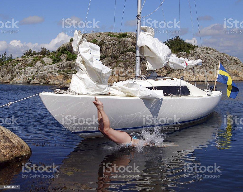 Sail and dive royalty-free stock photo