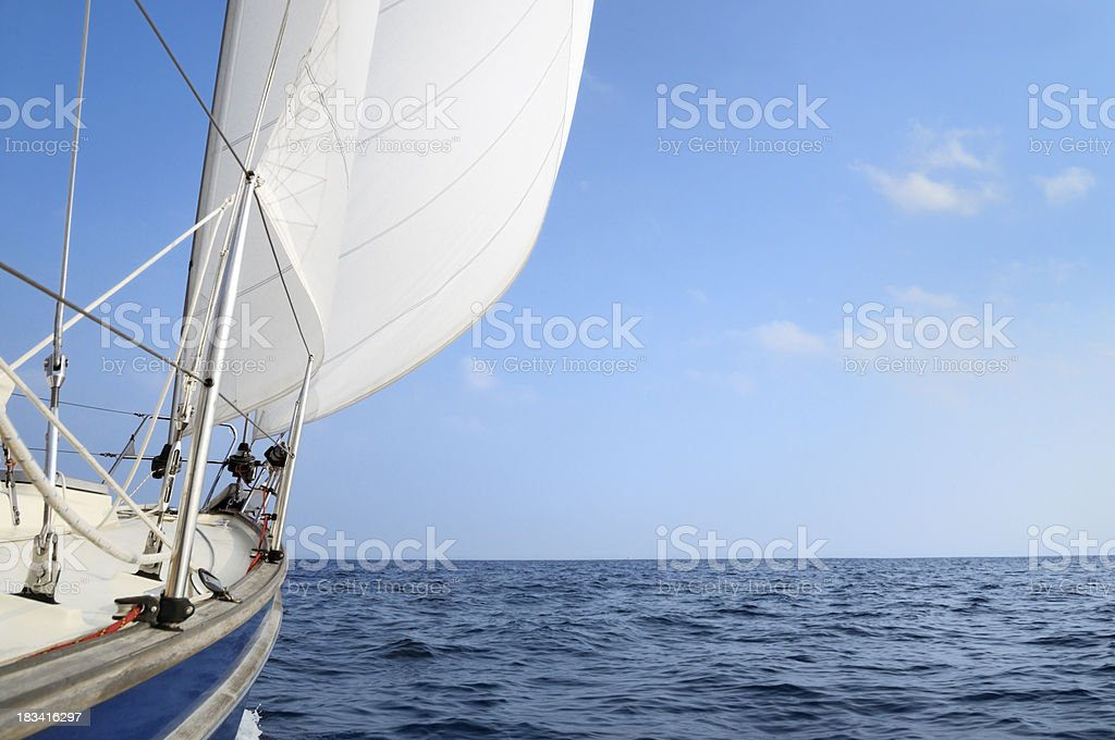 Sail boat at the open sea royalty-free stock photo
