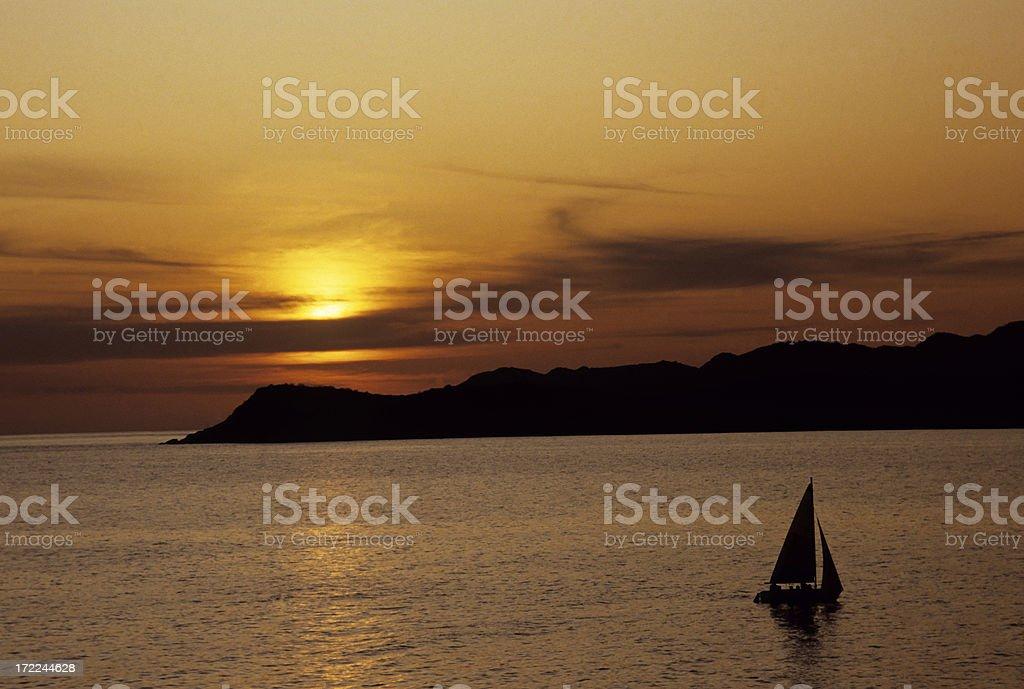 Sail Boat Ay Sunset royalty-free stock photo