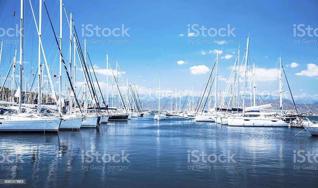 Sail boat harbor royalty-free stock photo