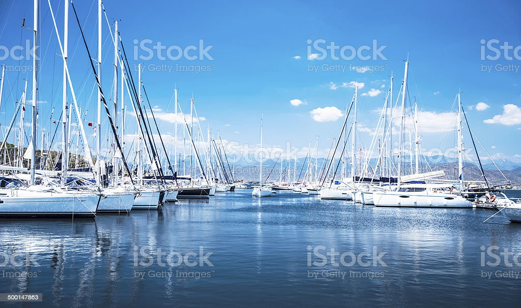 Sail boat harbor stock photo