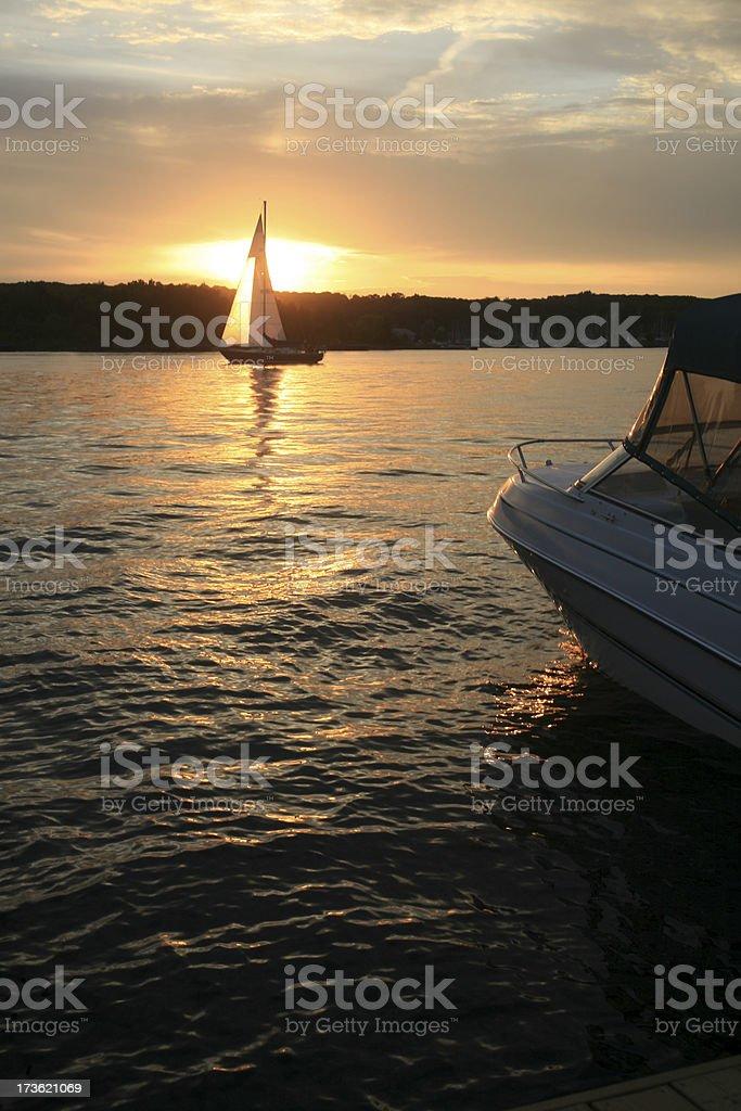 Sail boat in a sunset , Midaland, Ontatio, Cananda stock photo
