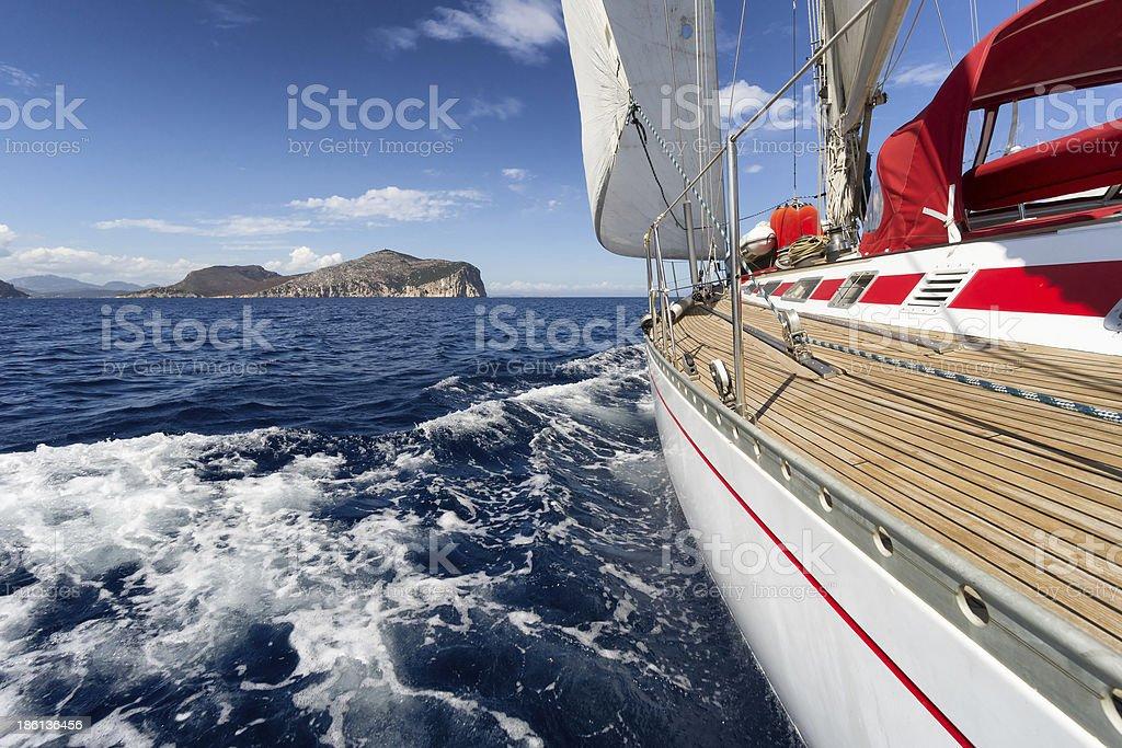 Sail Boat in Sardinia coast, Italy royalty-free stock photo