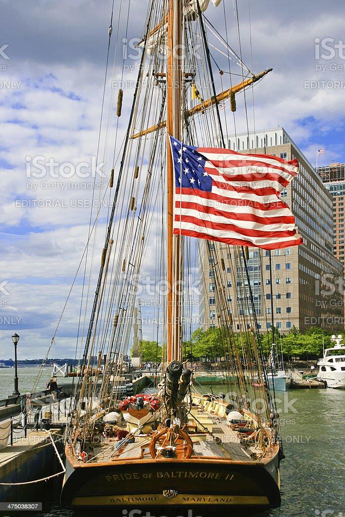 Sail boat moored at North Cove Marina, New York City. royalty-free stock photo