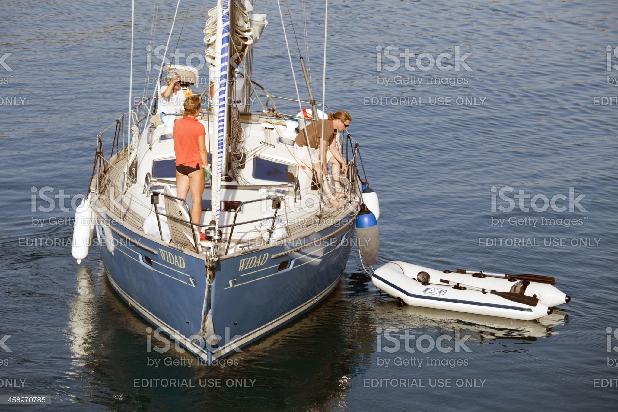 Sail Boat near Datca at Aegean Sea royalty-free stock photo