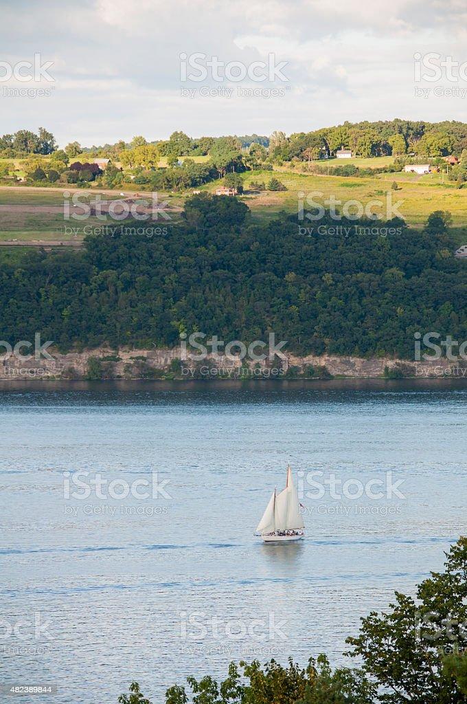 Sail boat on lake stock photo