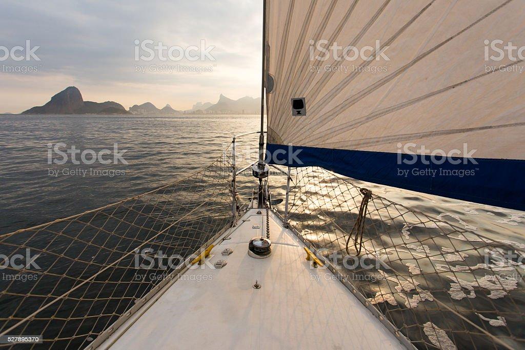 Sail boat sailing in Rio de Janeiro, Brazil stock photo