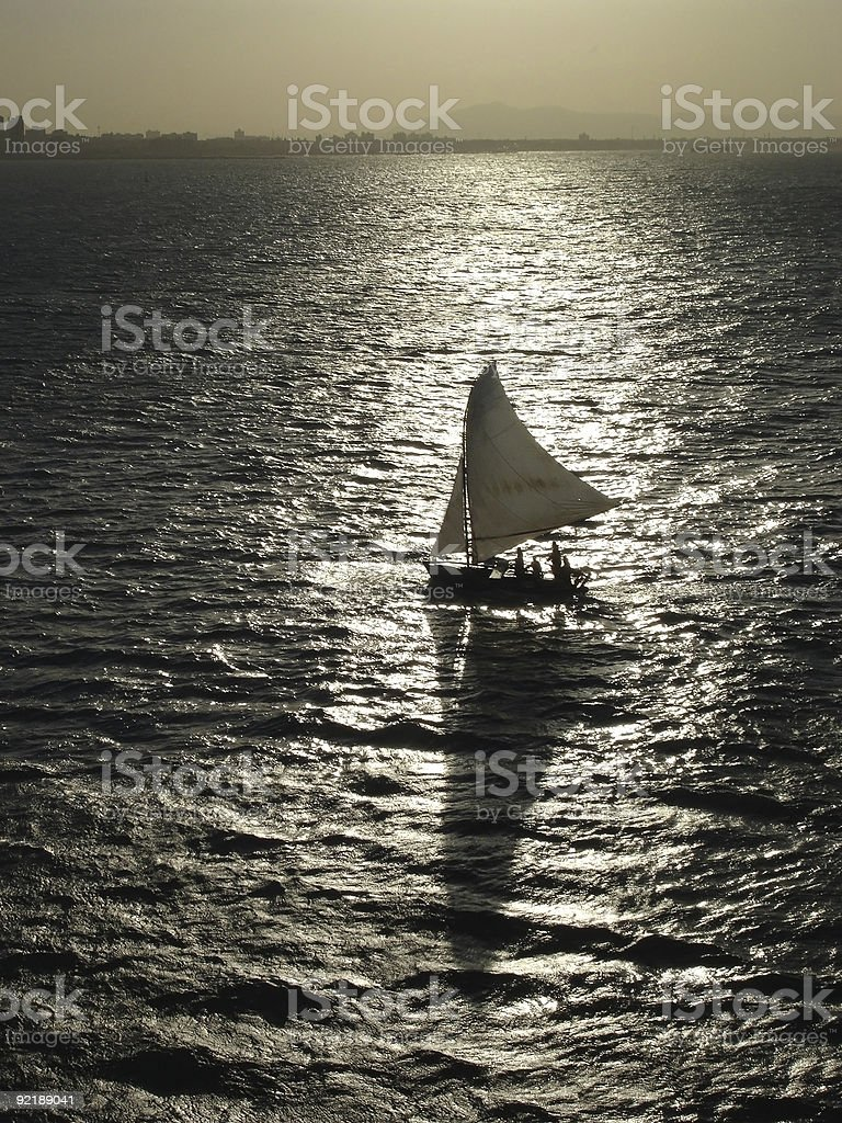 Sail Boat Silhouette royalty-free stock photo