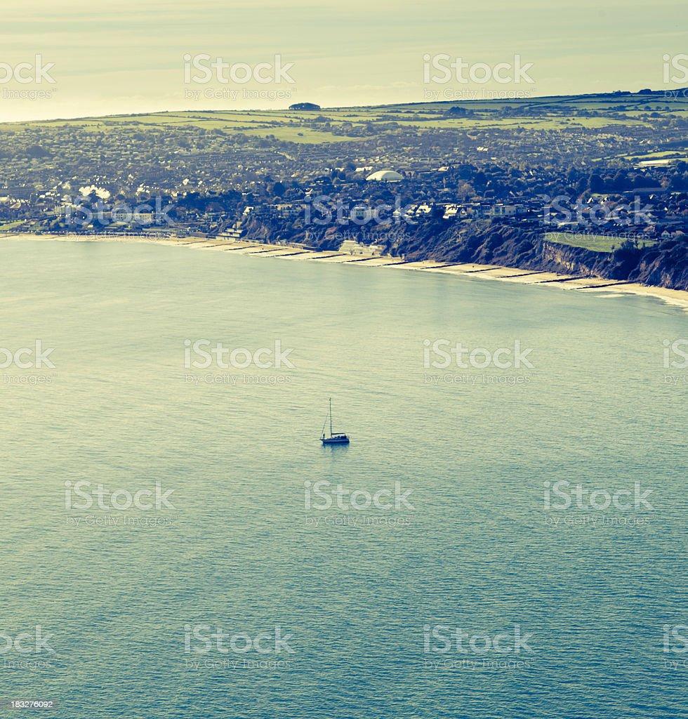 Sail boat towards Swanage royalty-free stock photo
