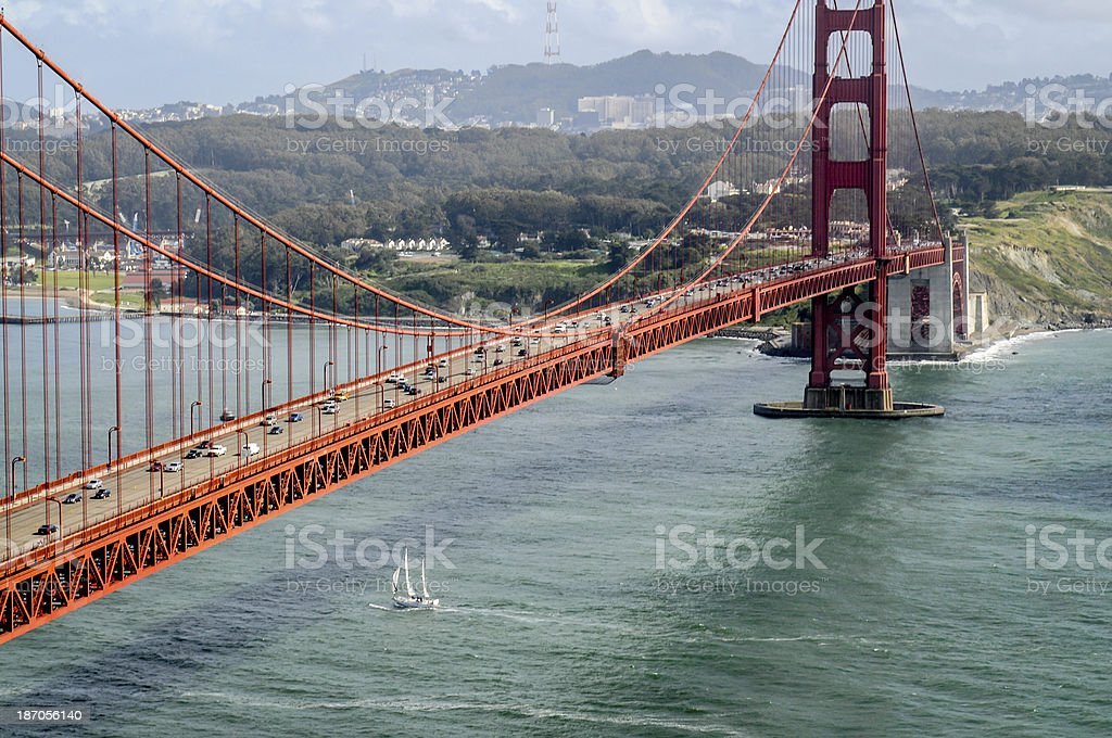 Sail Boat Under the Golden Gate royalty-free stock photo