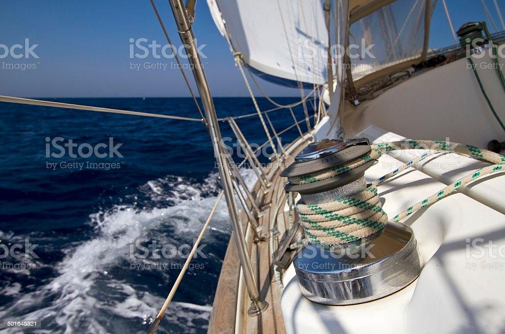 Sail boat winch stock photo