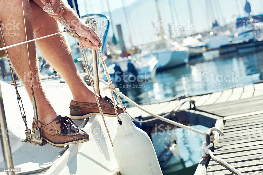 sail boat  yacht mooring stock photo