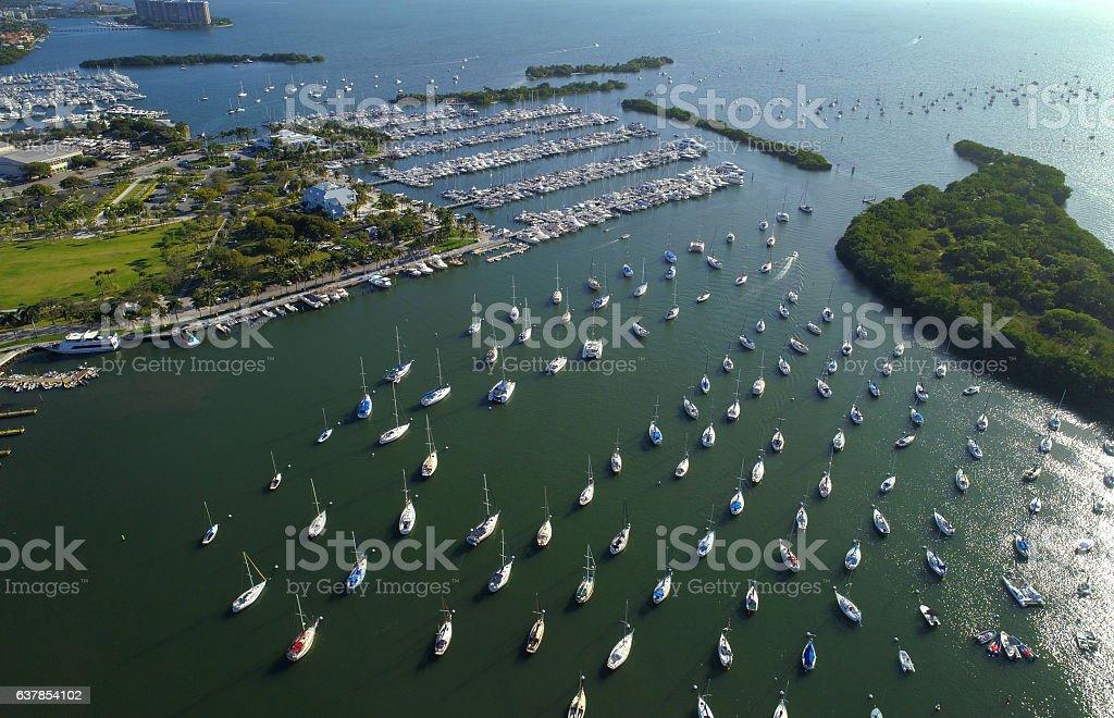 Sail boats at a marina stock photo