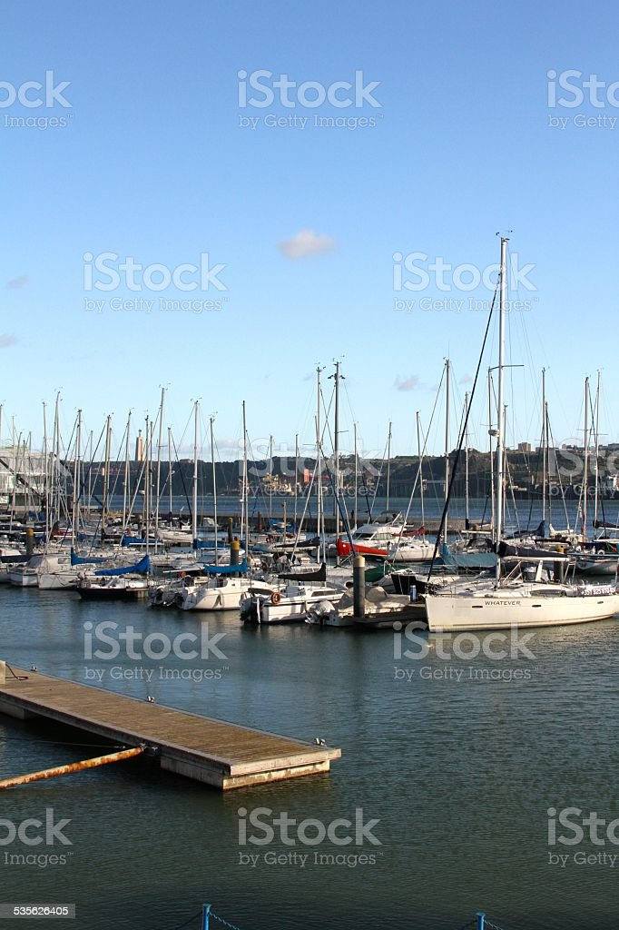 Sail boats in Lisbon Portugal stock photo