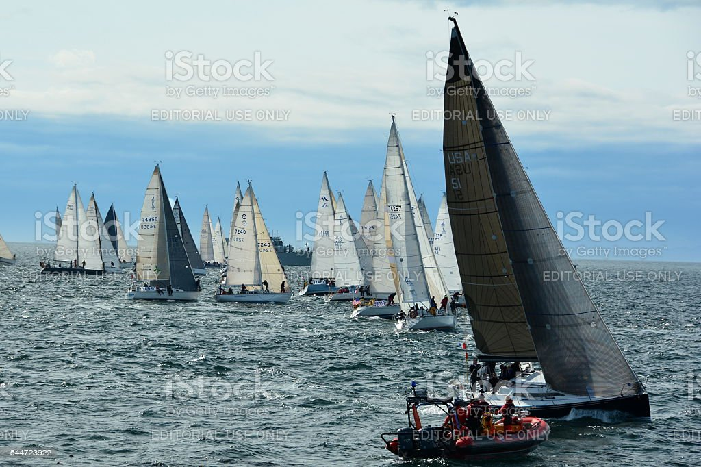 Sail boats line up for the Swiftsure boat race. stock photo