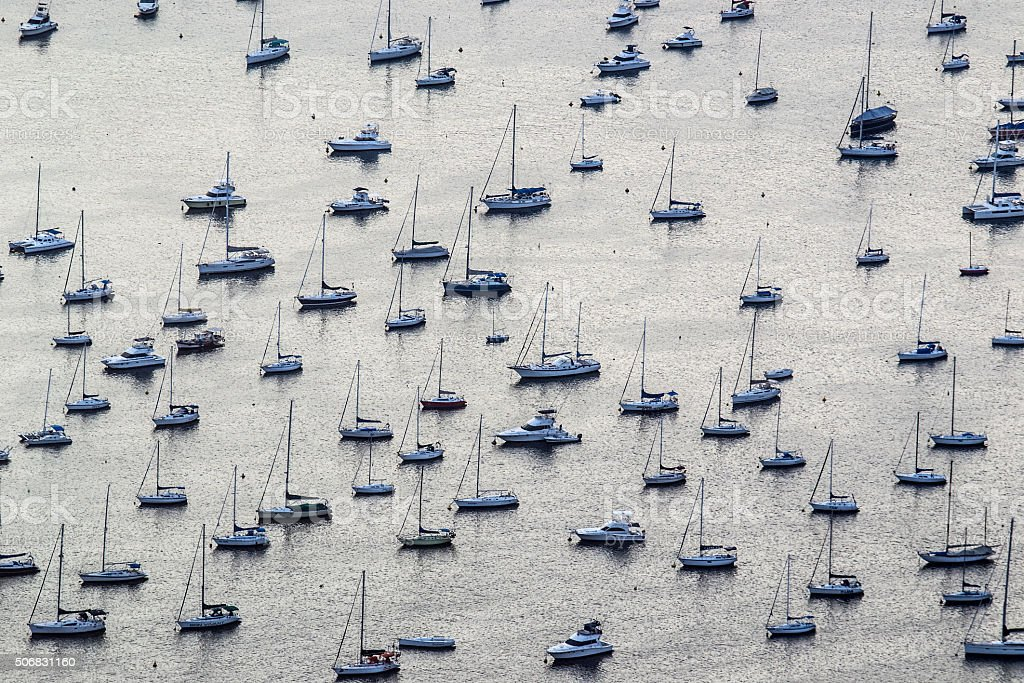 Sail boats seen from the top royalty-free stock photo