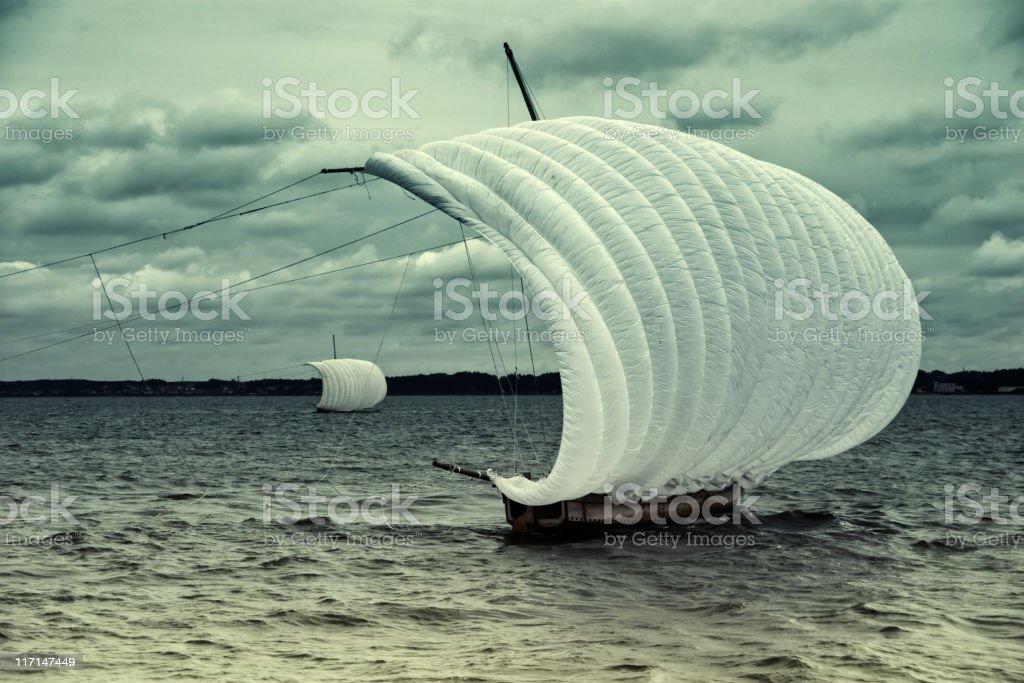 Sail propelled fishing boat Hobikisen stock photo