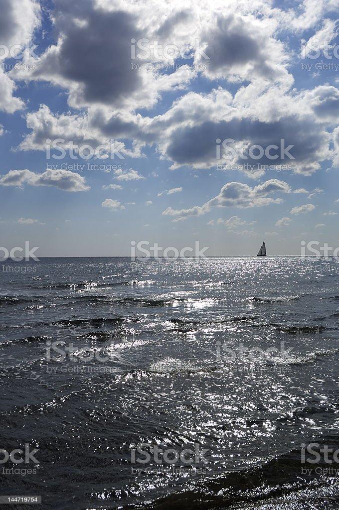 sail sea clouds royalty-free stock photo