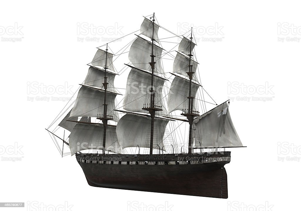 Sail Ship Isolated royalty-free stock photo