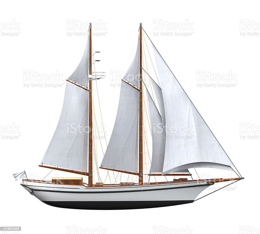 Sail Ship Isolated vector art illustration