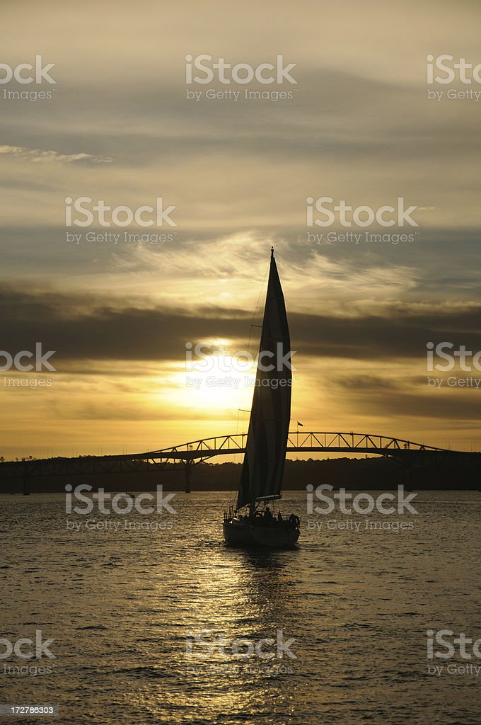 Sail to sunset royalty-free stock photo