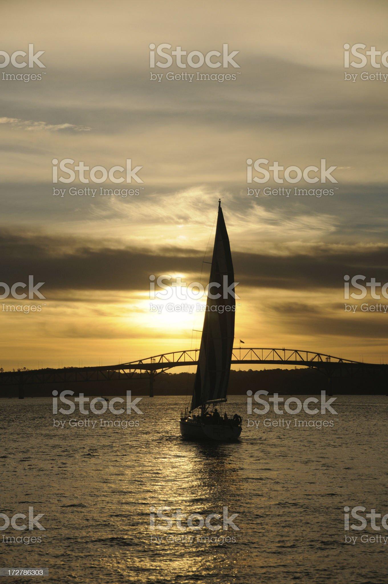 Sail to sunset royalty-free stock photo