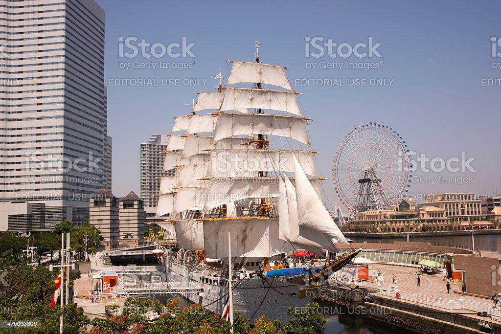 Sail Training Ship NIPPON MARU in Full Sail stock photo