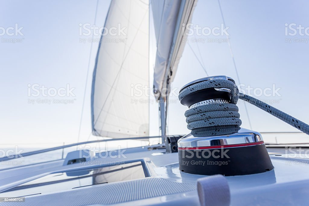 sail vessel surfing on the sea stock photo
