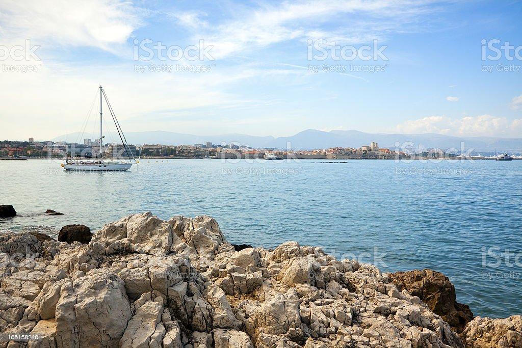 sailboat anchored near Antibes stock photo