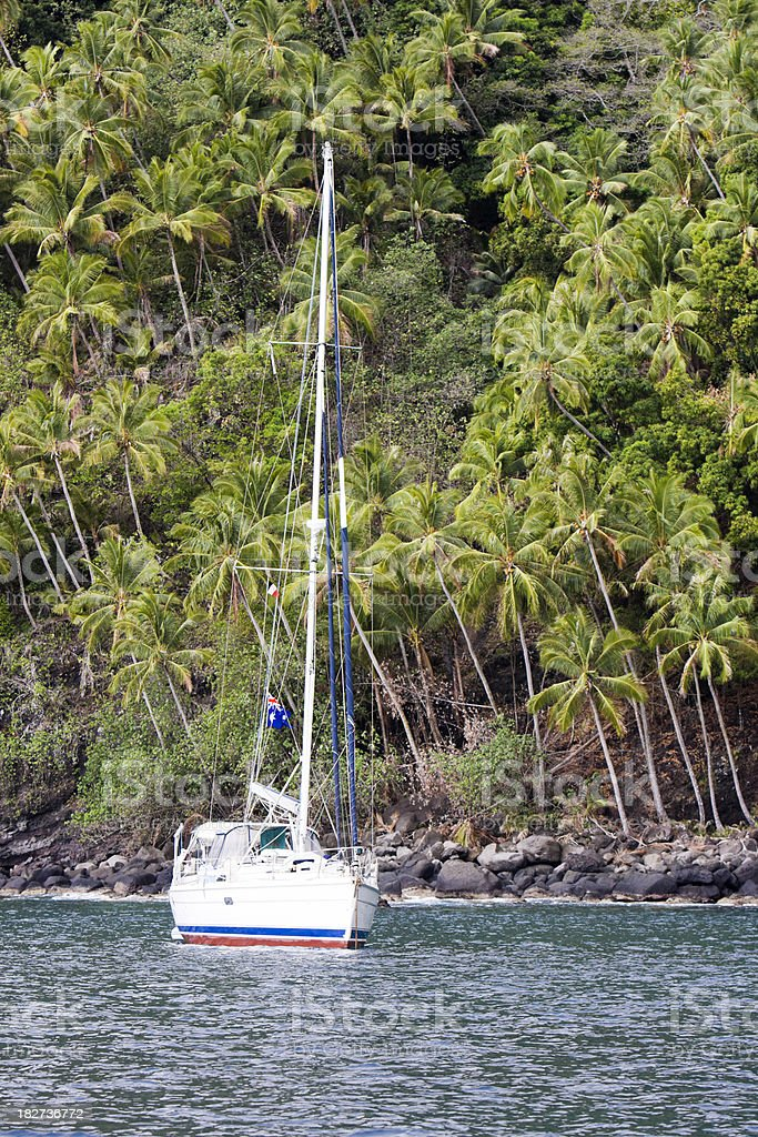 Sailboat Anchored off a Steep Palm Covered Island stock photo