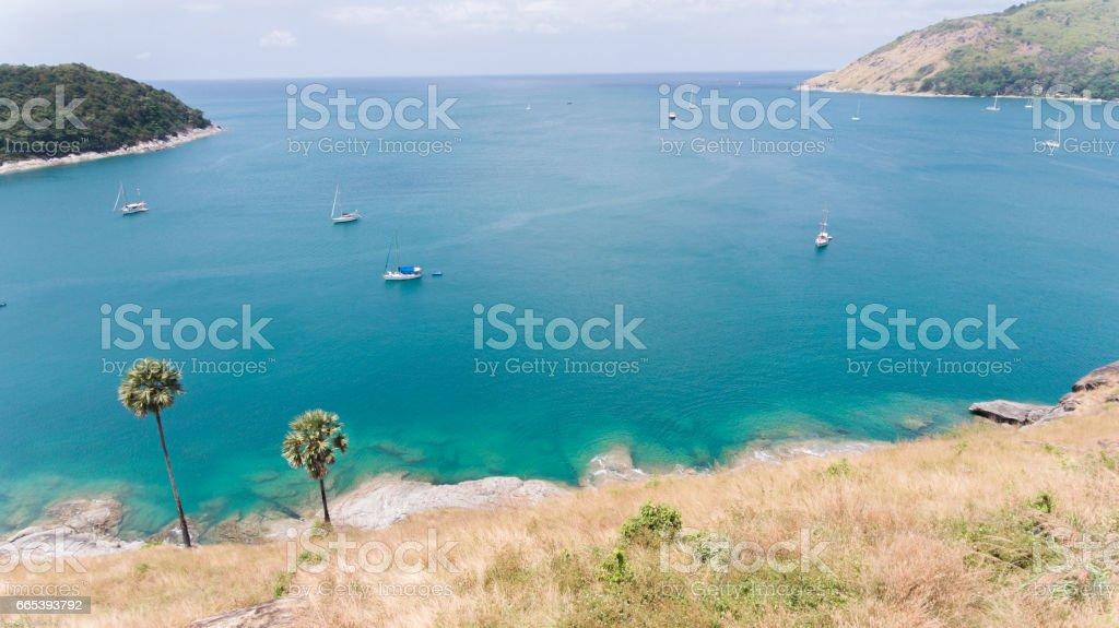 Sailboat and blue sea stock photo
