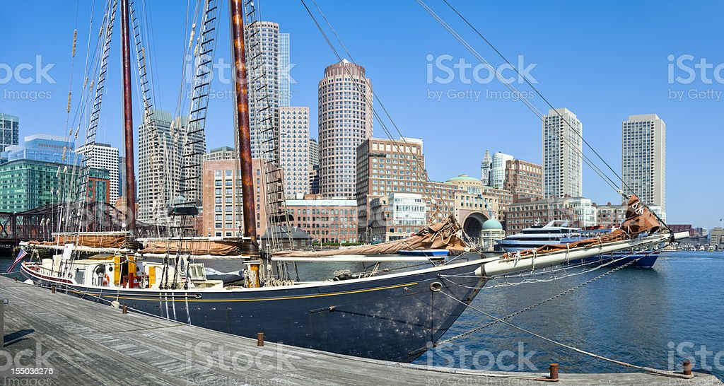 Sailboat and Boston Skyline Under Clear Blue Sky royalty-free stock photo
