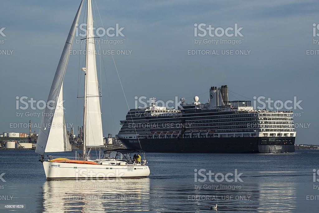 Sailboat and Cruise Ship royalty-free stock photo