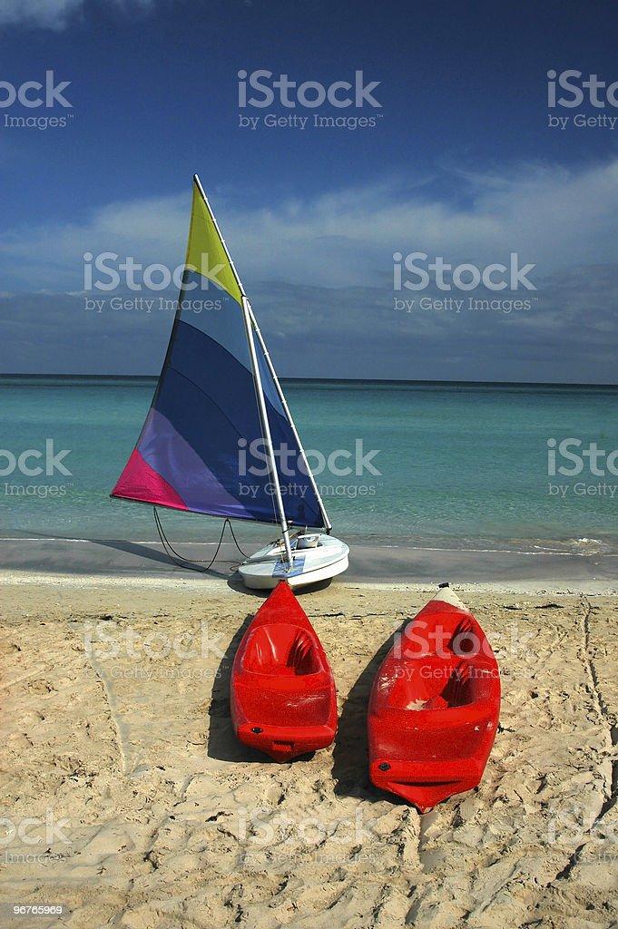 Sailboat And Kayaks royalty-free stock photo