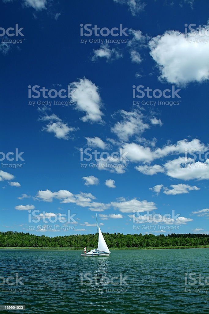 Sailboat and Lake 3 royalty-free stock photo