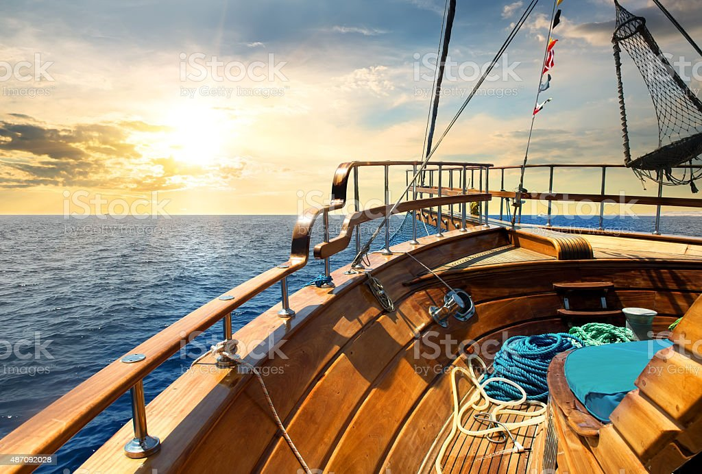 Sailboat and sea stock photo