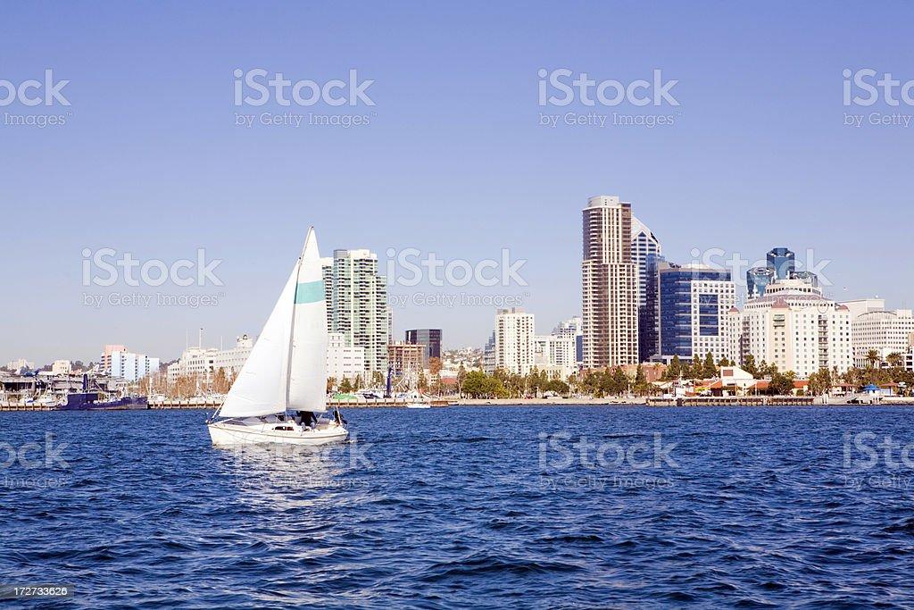 Sailboat and Skyline stock photo