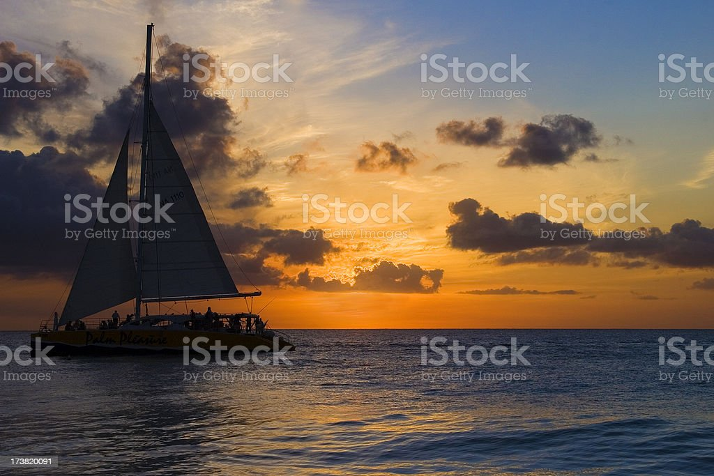 Sailboat and sunset royalty-free stock photo