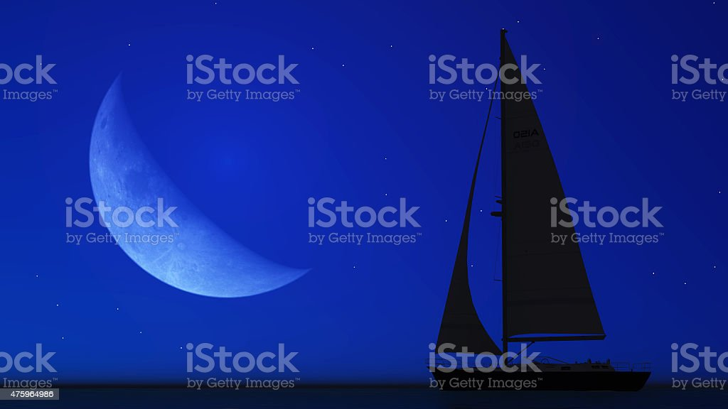 sailboat and the moon stock photo