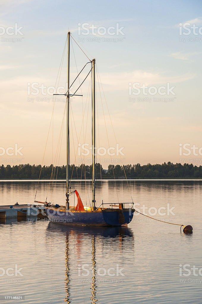 Sailboat at a pier royalty-free stock photo
