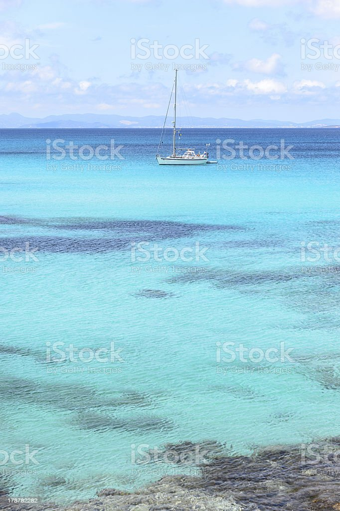 Sailboat at anchor royalty-free stock photo