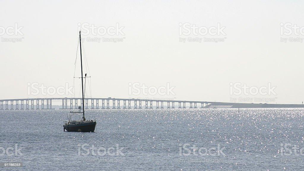 Sailboat at Anchor stock photo