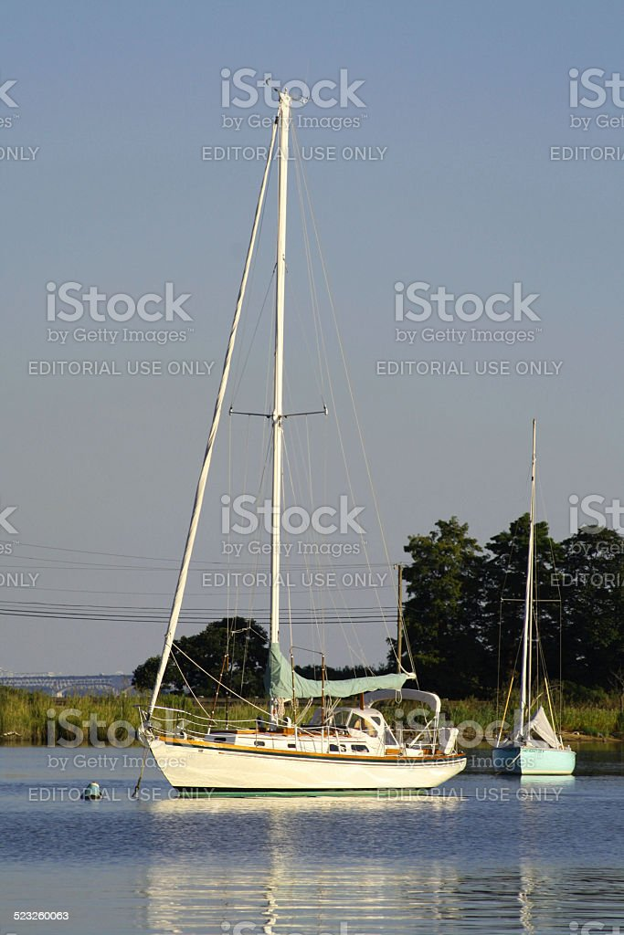 Sailboat at Gibson Island Yacht Squadron on the Chesapeake Bay stock photo