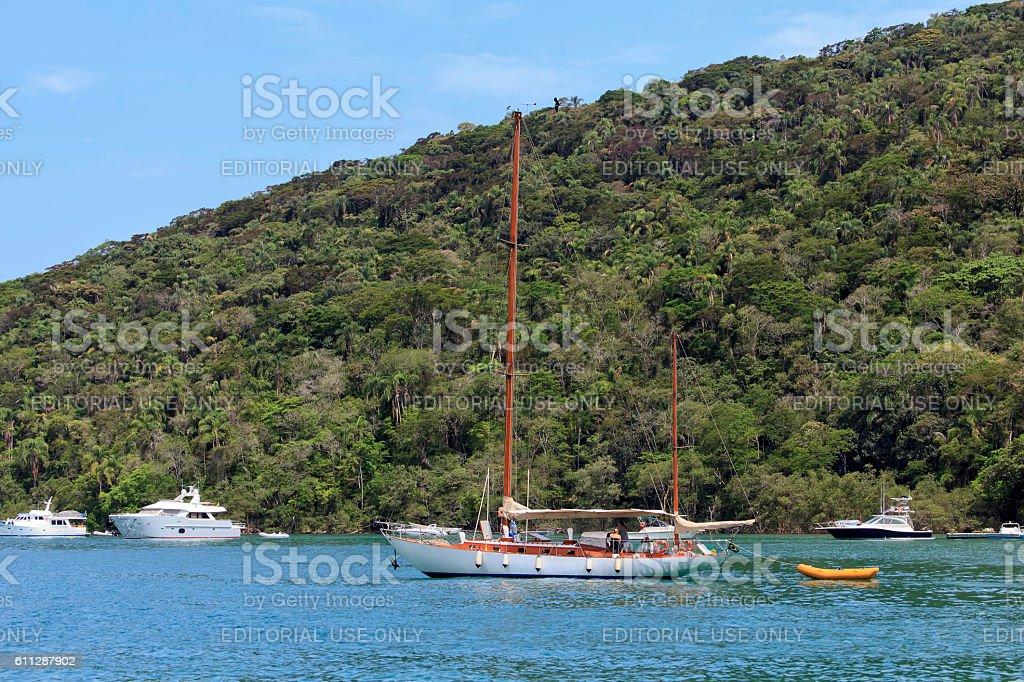 Sailboat at Ilha Grande stock photo