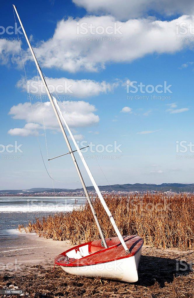 Sailboat at Lake Balaton in winter time royalty-free stock photo