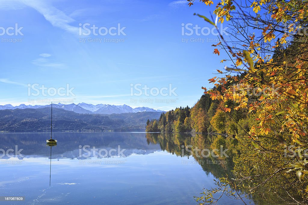 Sailboat at Lake Walchen (Walchensee) royalty-free stock photo