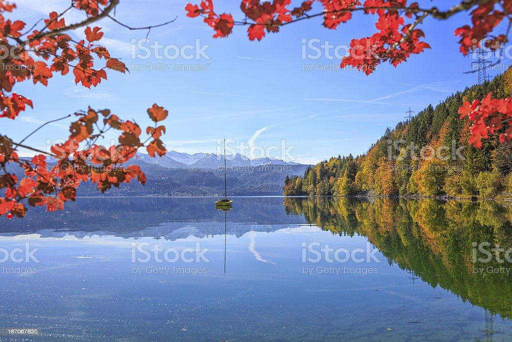 Sailboat at Lake Walchen (Walchensee) royalty-free stock photo