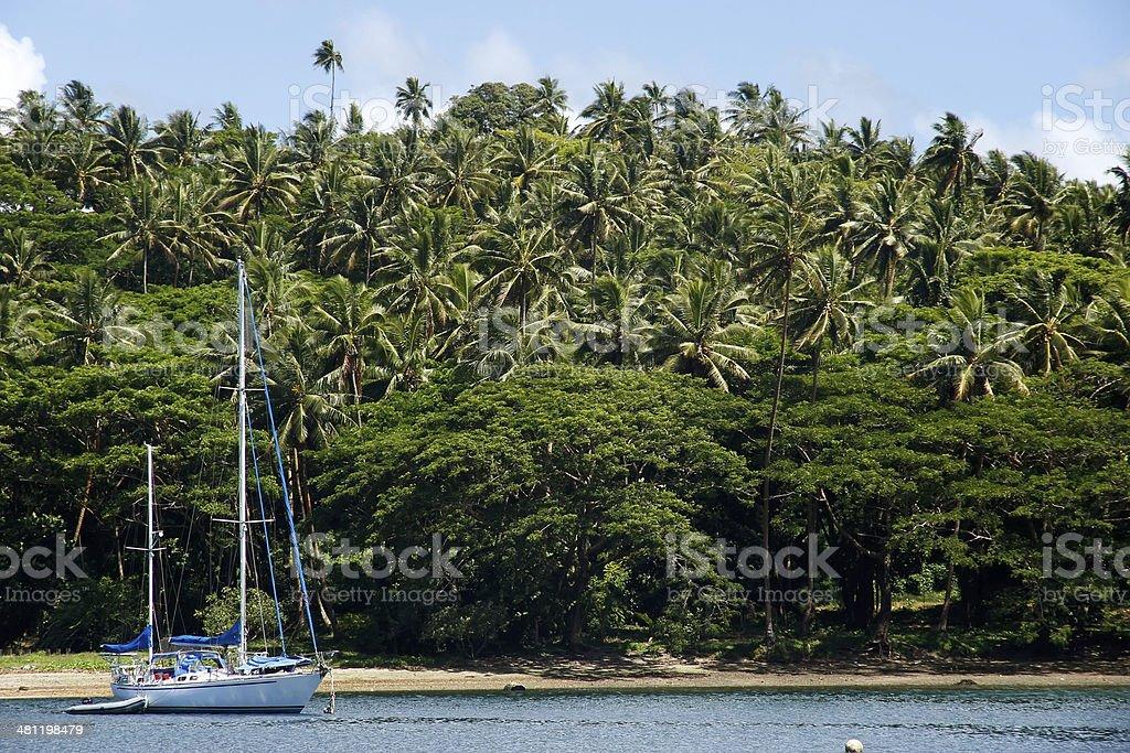 Sailboat at Savusavu harbor, Vanua Levu island, Fiji stock photo
