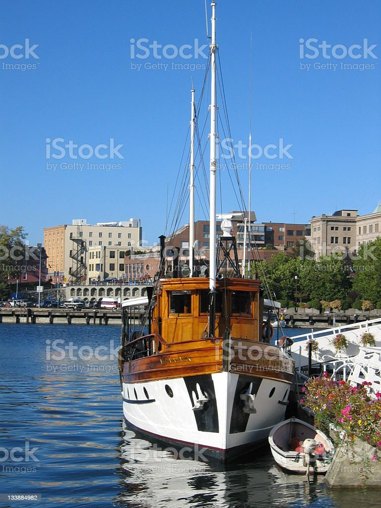 Sailboat at the dock, Victoria B.C. stock photo