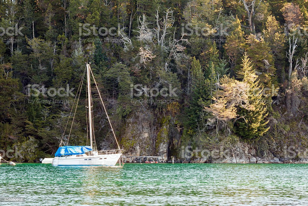 Sailboat at the lake. Nahuel Huapi, Patagonia, Argentina stock photo